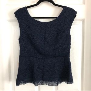 Navy Blue Lace Forever 21 Contemporary Blouse, L
